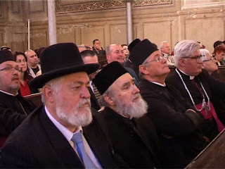 Ecumenical personalities attending the anniversary ceremony: First row (from left to right): E.S. Rabbi Abraham Ehrenfeld, ÎPS Timotei, Orthodox Archbishop of Arad, pr. Counselor Vasile Pop, Greek-Catholic Archpriest Sorin Seviciu, Evangelical priest Aranka Gyurkocza. Second row (from left to right): Serbian Orthodox Parish priest Ognean Plavsici, Evangelical priest Istvan Jakab, Reformed priest Emerik Czege.